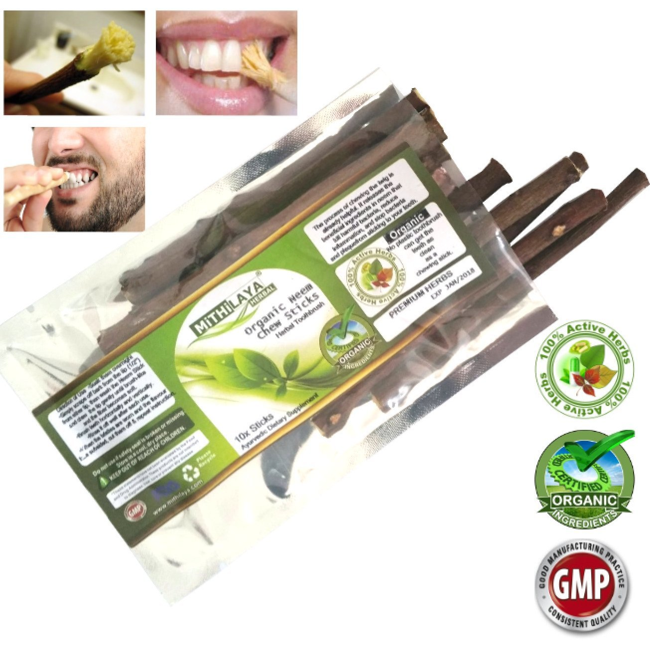 Mithilaya Herbal Neem Toothbrush Chew Sticks Natural Wild Organic Traditional lot of 10 Sticks