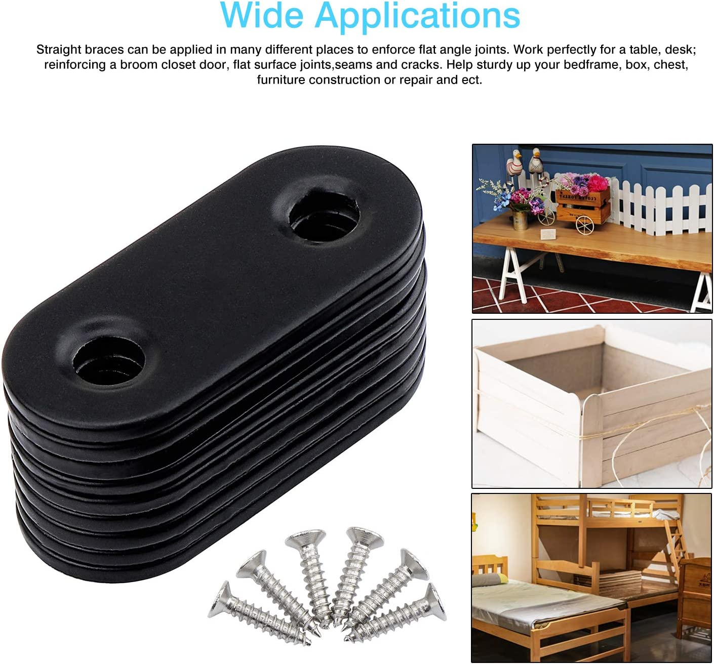 WiMas Lot de 20 supports droits en acier inoxydable 16 x 40 mm avec 40 vis Noir