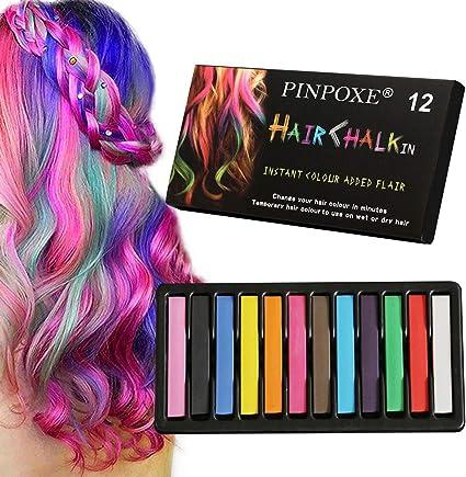 Tiza de Pelo, Cabello Tiza, Coloración temporal Cabello, Hair Chalk Set, 6 Colores Temporal Tiza de Pelo dont have Tóxico Lavables Color de Tiza Para ...