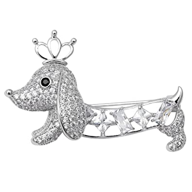 Loveangel Jewellery Valentine Day Enamel Crystal Dog Dachshund Puppy Jewelry Brooch Pin wqx1yu61S