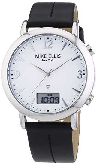 Mike Ellis New York M2942ASU/1 - Reloj analógico - digital de cuarzo para hombre, correa de cuero color negro: Amazon.es: Relojes