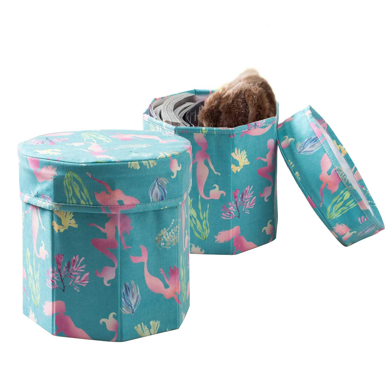 TINA S HOME 2 Pack Sturdy Kids Ottoman Storage Organize for Toy Book Storage – Mint Green – 12 inches – Mermaids
