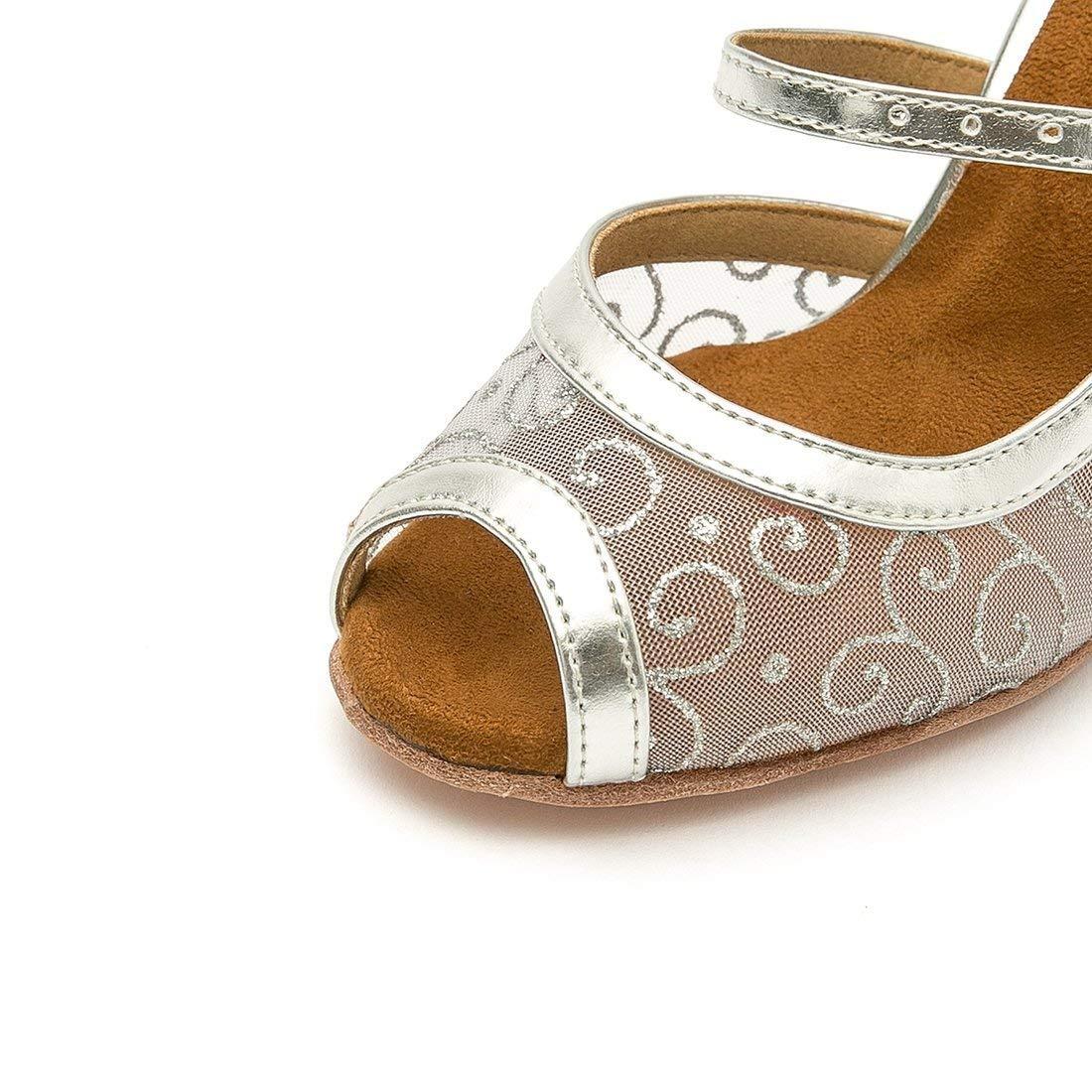 Qiusa Frauen Foral Peep Toe Mesh Latin Tanzschuhe (Farbe Party Sandalen (Farbe Tanzschuhe   Silber-3.35  Heel Größe   3.5 UK) de8538