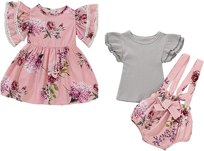 Aslaylme Big Sister Little Sister Matching Outfits Floral Pant Clothes Set