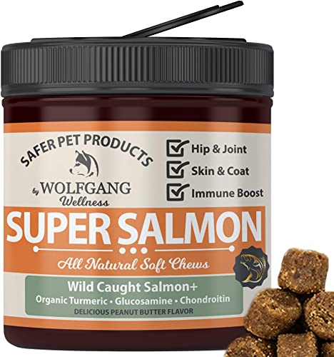 Organic Salmon Oil For Dogs Dog Fish Oil For Dog Allergies, Skin Coat, And Itchy Skin Omega 3 Fish Oil For Dogs Allergy Relief Dog Supplements With Omega 3 Fatty Acids 110Ct MADE IN USA
