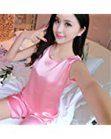 Edgar Dur Women Sleeveless Nightgown Imitated Silk Female Pajamas Clothes Summer Homewear Suit Top+Pants