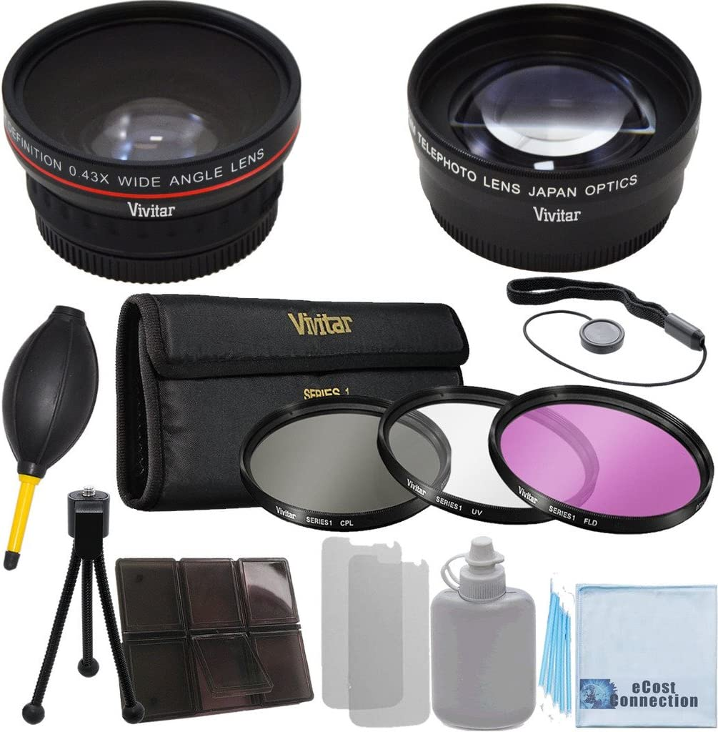 2.2x Telephoto Lens Sony NEX-VG10 Interchangeable Lens 3 Pieces Filter Set with Deluxe Lens Accessories Kit for Sony HXR-NX70UK NXCAM Compact Camcorder 67mm 0.43x Wide Angle Lens Sony NEX-EA50UH