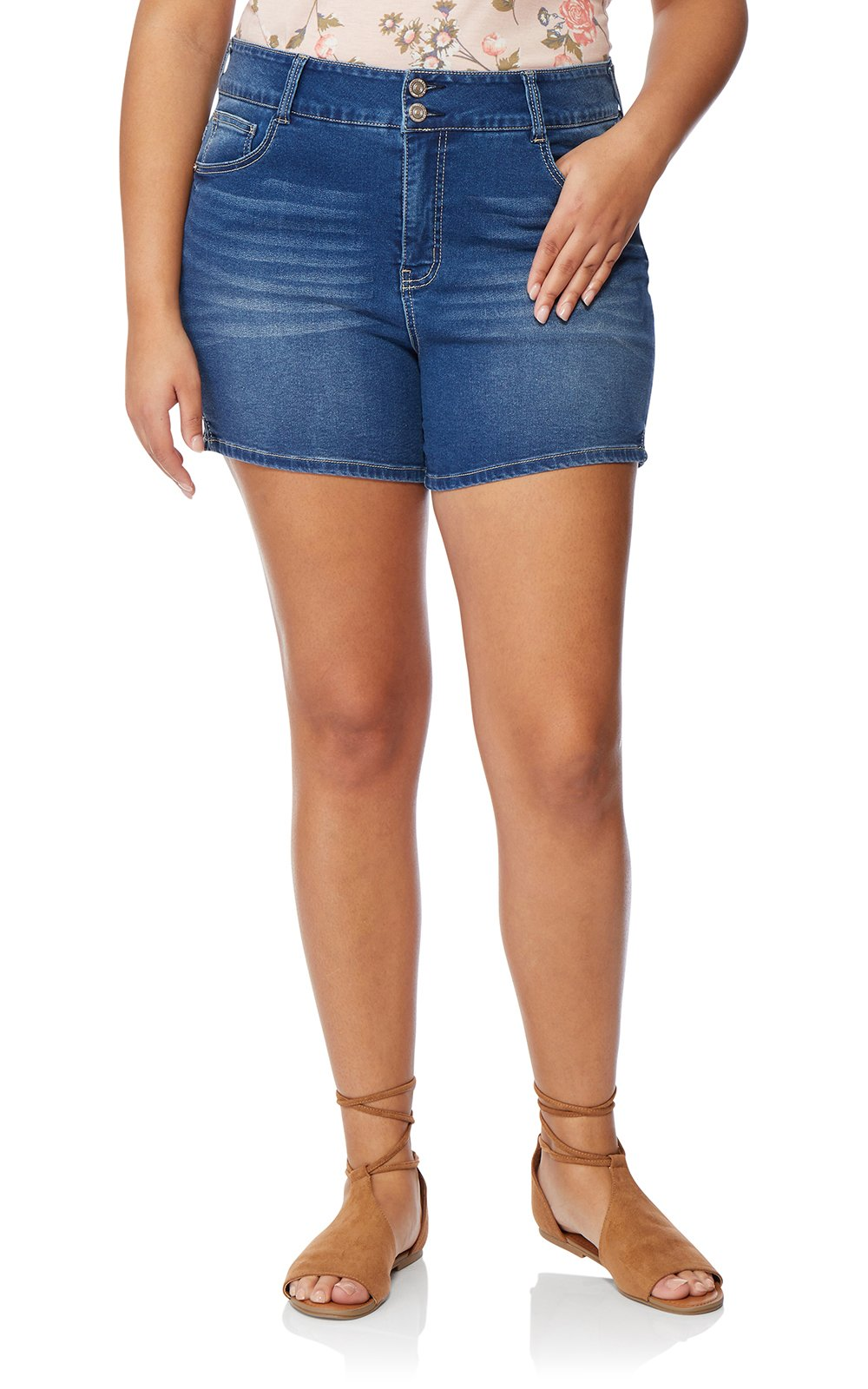 WallFlower Women's-Juniors Plus Size InstaSoft Ultra Fit Shorts in Lizette, 24 Plus