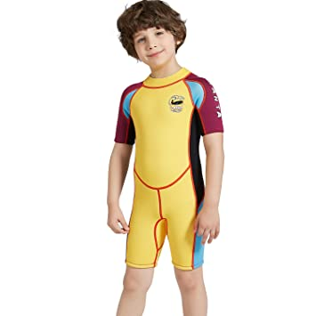 80a80c6237 DIVE & SAIL Kids Boys Girls Wetsuit 2.5MM Neoprene Long Sleeve Thermal UV  Protection Diving Suit Swimsuit for Water Sports (Yellow Short, ...