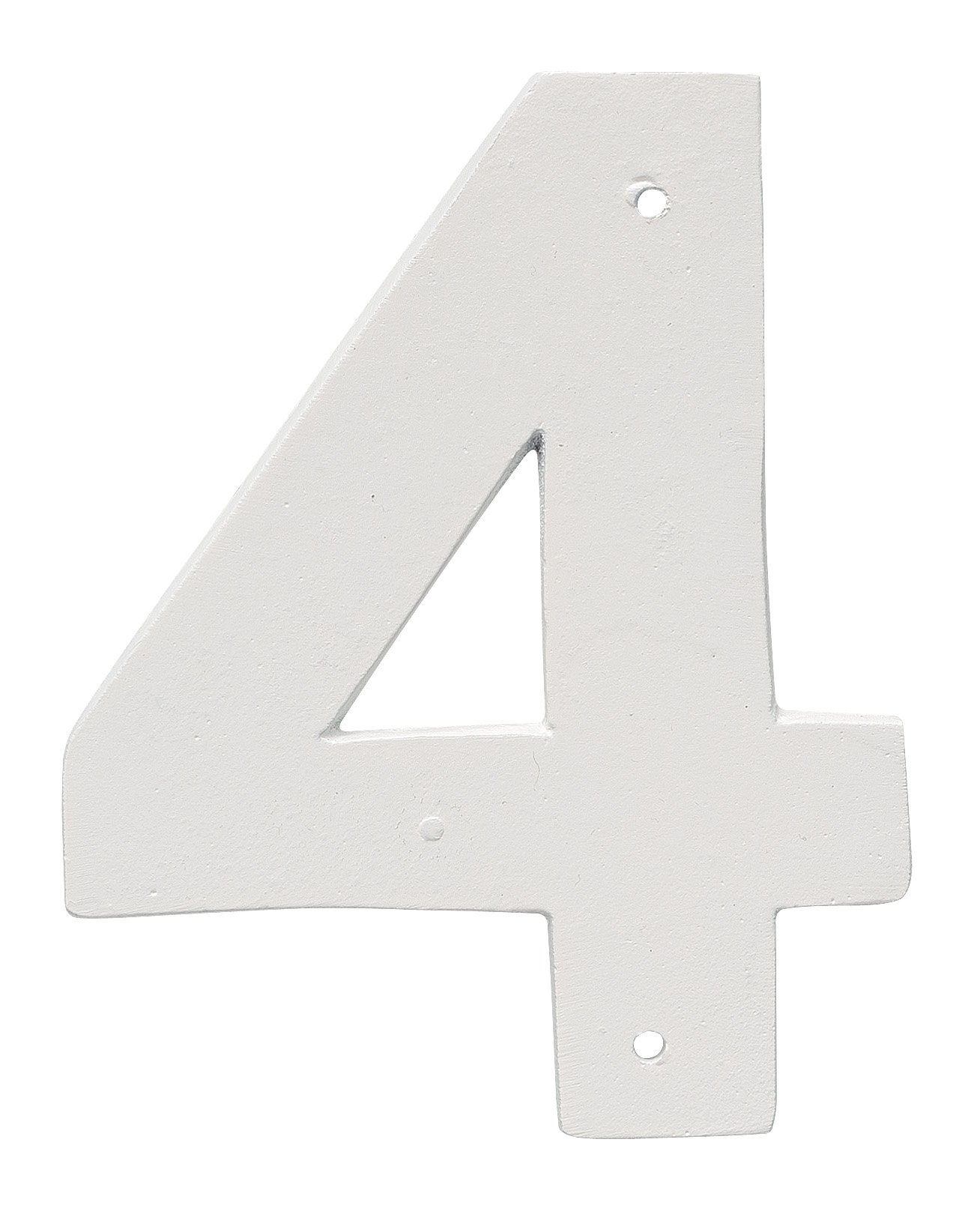 Montague Metal Products 4'' Aluminum House Number 4 Outdoor Plaque, Medium, White