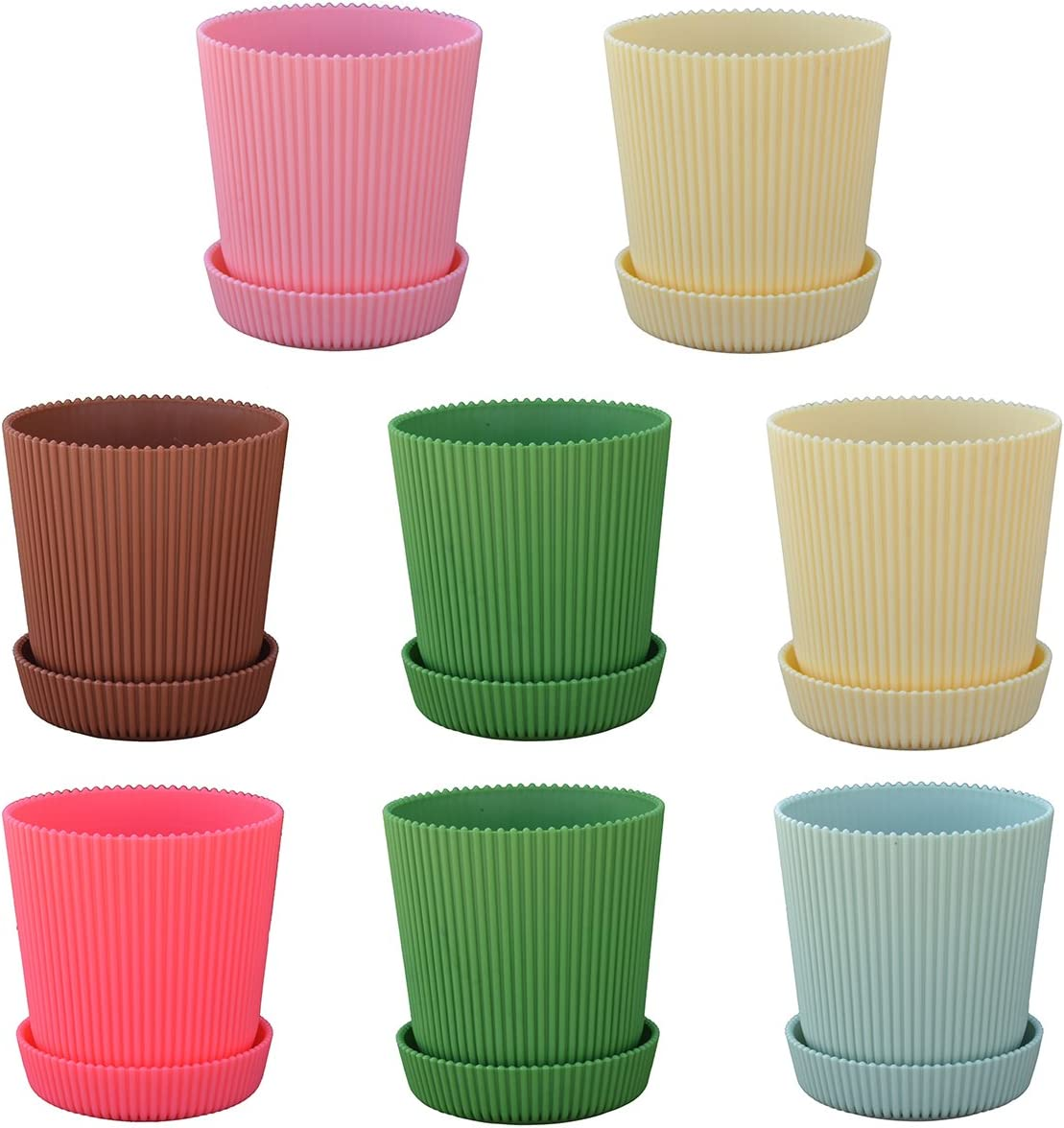 LUXEHOME Adorable Flower Pot with Drainage Hole Sturdy and Durable Plant Pot with Sauce Bright and Attractive Color, Set of 8