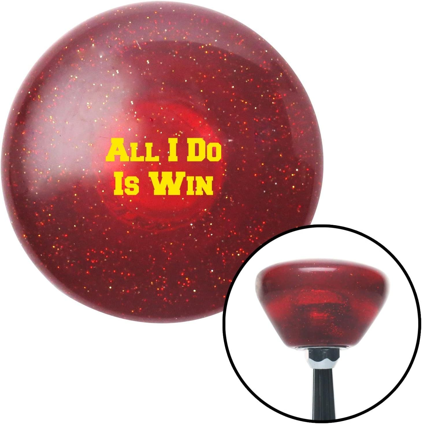Yellow All I Do is Win Red Retro Metal Flake with M16 x 1.5 Insert American Shifter 290572 Shift Knob