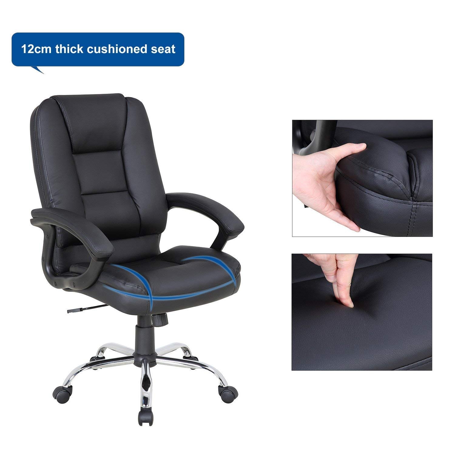 LCH PU Leather Office Chair Swivel Executive Chair with Tilt Function and Thick Seat, Ergonomic Computer Chair Headrest and Lumbar Support (Black) by LCH (Image #8)