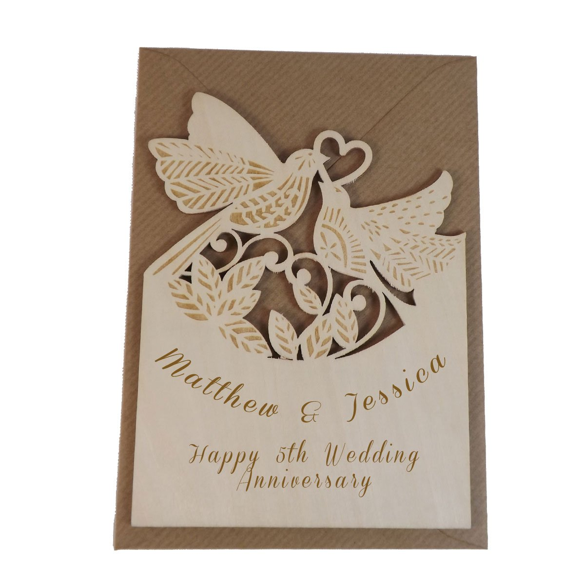5th Anniversary Personalised Wooden Card Amazoncouk Office Products