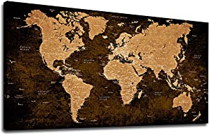 """Vintage World Map Wall Art Bedroom Living Room Decoration 20"""" x 40"""" Canvas Wall Art Antiqued Map of The World Painting Prints Modern Artwork Picture for Office Home Wall Decor"""