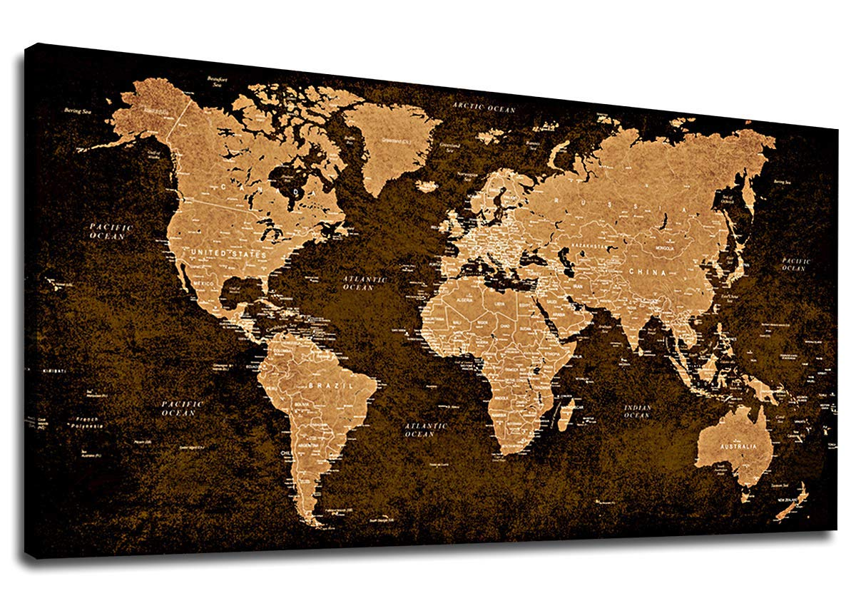 Vintage World Map Wall Art Living Room Bedroom Decoration Modern Map  Painting Prints Contemporary Canvas Artwork Retro Map of The World for  Office ...