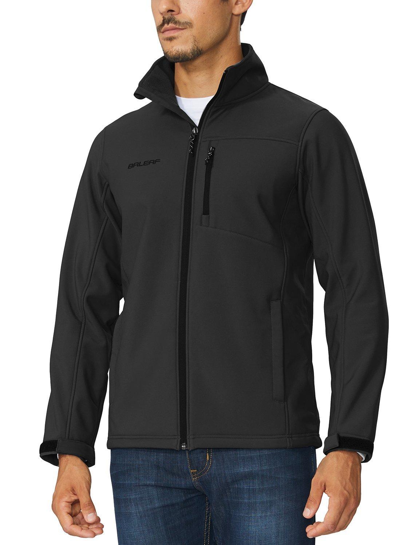 BALEAF Men's Softshell Jacket Waterproof Windproof Outdoor Cycling Walking Coat Black Size L by BALEAF