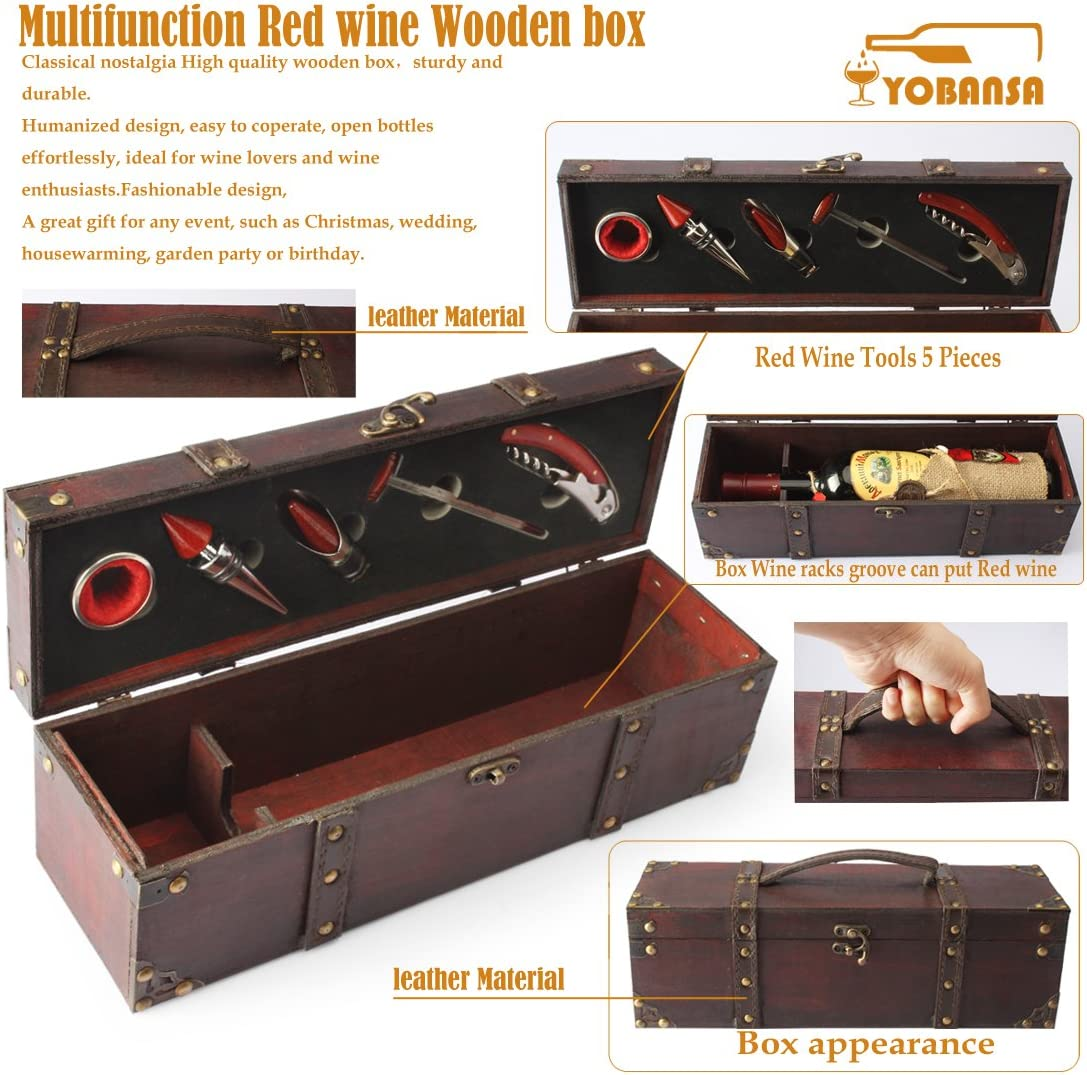 Smooth Style YOBANSA Antique Wooden Chest//Storage Box with Handle,Wine Bottle Box with Wine Accessory Set,Wooden Wine Gift Box Wine Stopper Wine Pourer Wine Opener