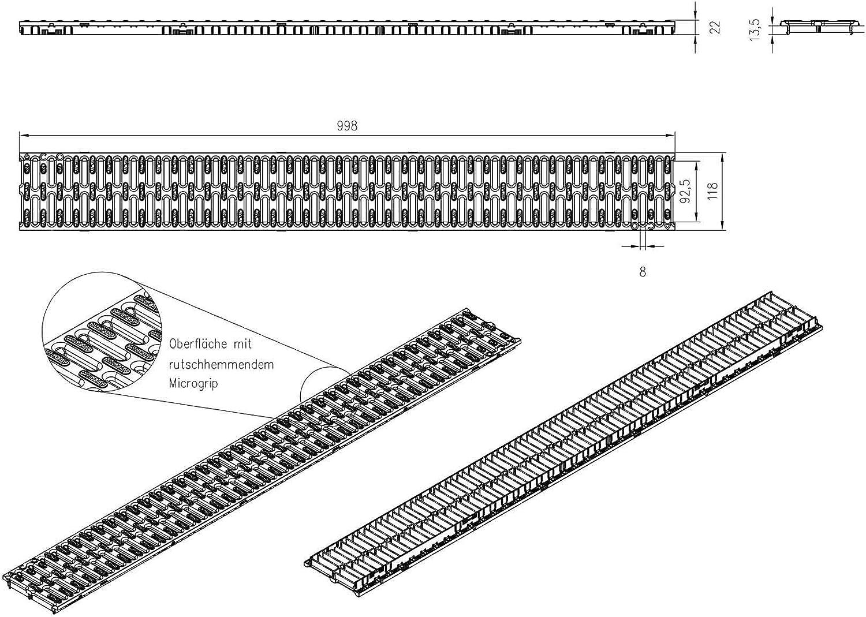 1m ACO Hexaline 2.0 Entw/ässerungsrinne mit Microgrip Stegrost Ablauf horizontal Bodenrinne Terrassenrinne