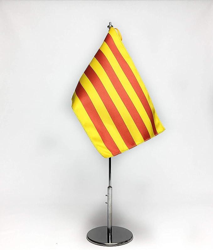 ABBE Global Bandera de Mesa Bordada de Cataluña 15x25 y mástil: Amazon.es: Hogar