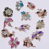 IPINK 12 Pcs Wholesale Lots Brooches Flower Floriated Brooch Pins Mixed Colors Design