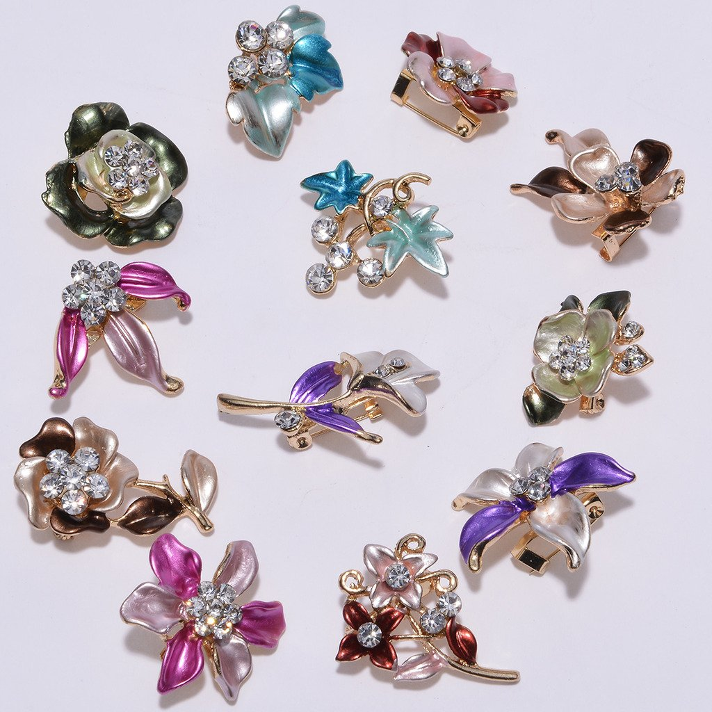 IPINK 12 Pcs Wholesale Lots Brooches Flower Floriated Brooch Pins Mixed Colors Design ZXZ010-D6-10