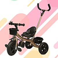 GoodLuck Baybee - 2 in 1 Convertible Baby Tricycle Kid's Trike with Parental Adjust Push Handle Children Tricycle with Seat Belt Kid's | Suitable for Boys & Girls for 1 2 3 4 5 Years Old - Light Gold