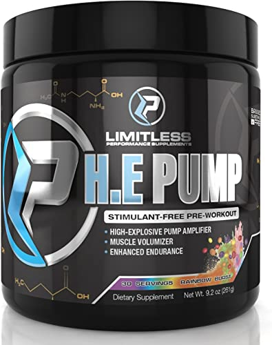 Limitless Performance Supplements H.E. Pump Rainbow Burst , Powder, Citrulline Malate, Pump, Energy, Strength Training, 30 Servings