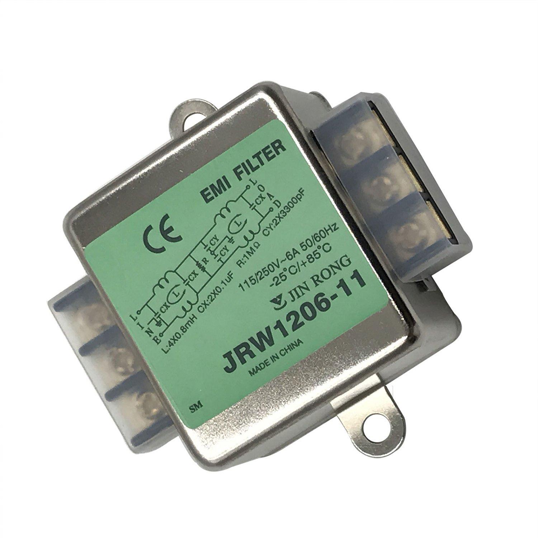 Noise Suppressor Power EMI Filter Termianl Single-Phase Line-Conditioner JREle AC 115/250V 6A JRW1206-11