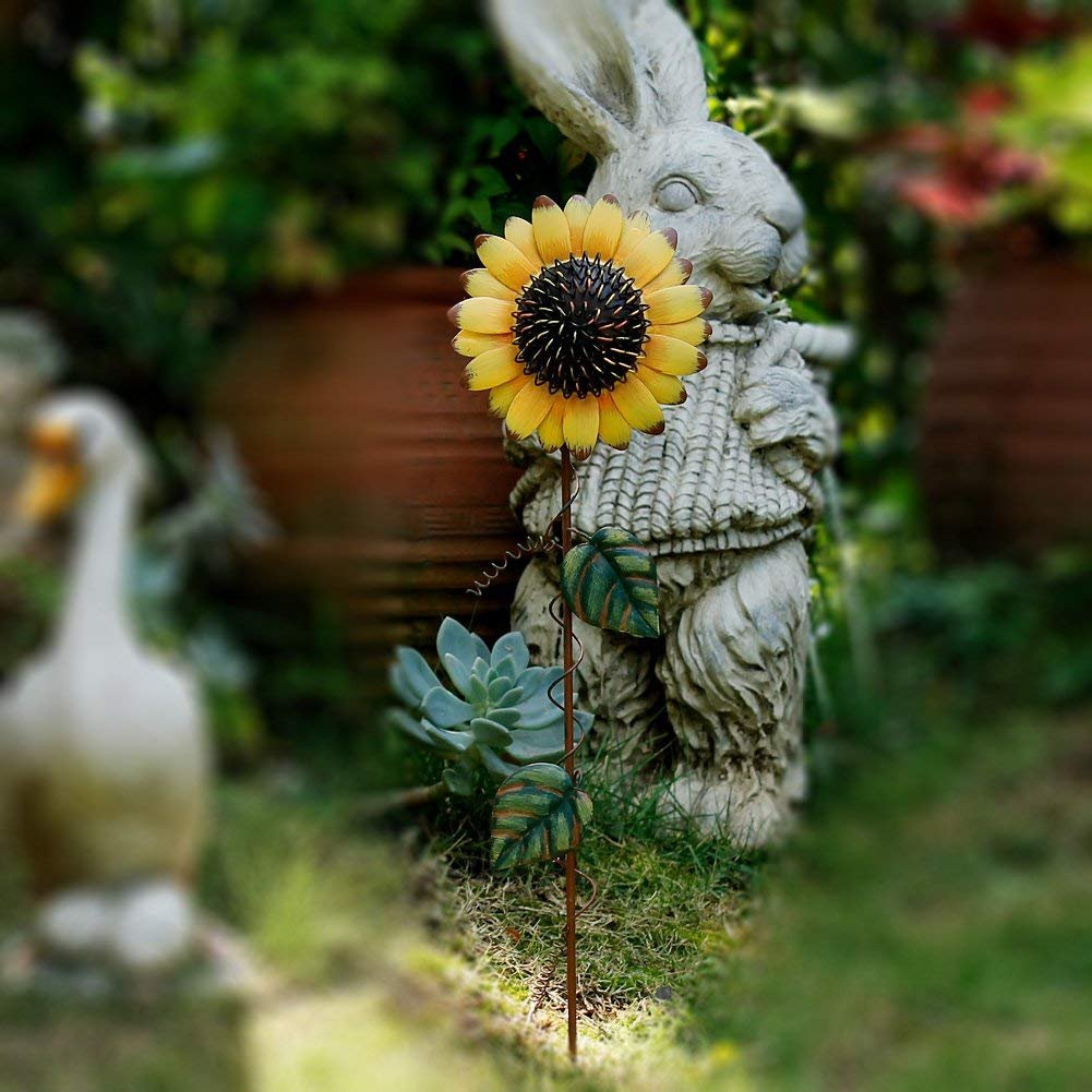 Grace Home Metal Sunflower Garden Stake Large Flower Patio Lawn Yard Stake Decor by Grace Home (Image #5)