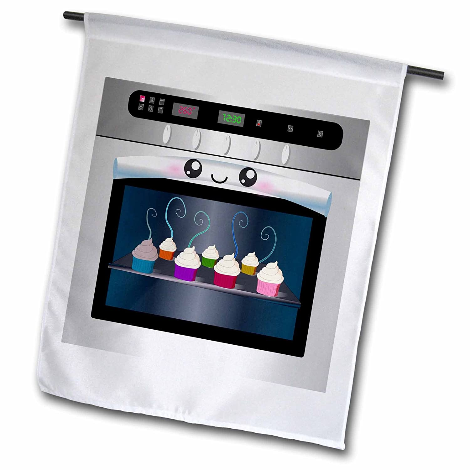 3dRose fl_58309_1 Cute Kawaii Happy Smiling Oven Filled with Baking Cupcakes-for Chefs Foodies and Cooking Fans Garden Flag, 12 by 18-Inch
