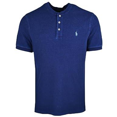 Ralph Lauren Polo piqué Bleu Marine Vieilli Logo Bleu col Mao pour Homme 30dec19efd5c
