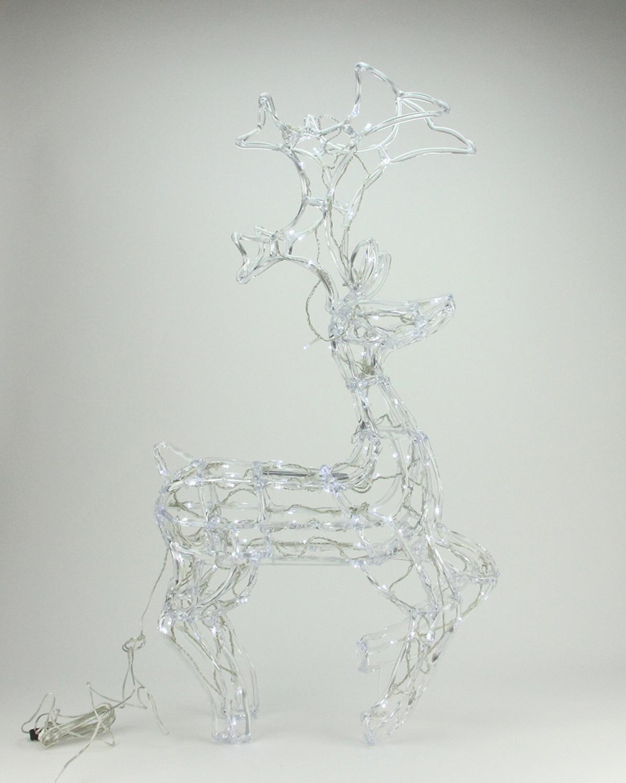 PENN 34'' LED Standing Buck Deer Spun Glass Christmas Yard Art Decoration-Polar White Lights, Clear