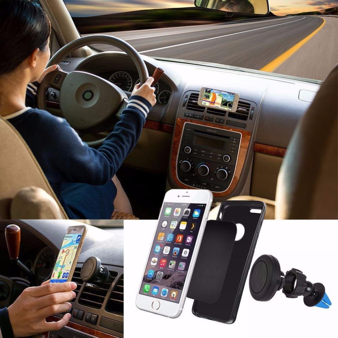 Glumes Car Magnetic Mount, Universal Air Vent Magnetic Phone Car Mounts Holder for iPhone X 8 7 Plus 6S 6 5s 5 SE, Galaxy S9 S8 S7 S6 Edge, LG and Mini Tablet With 2 Plate (Black)