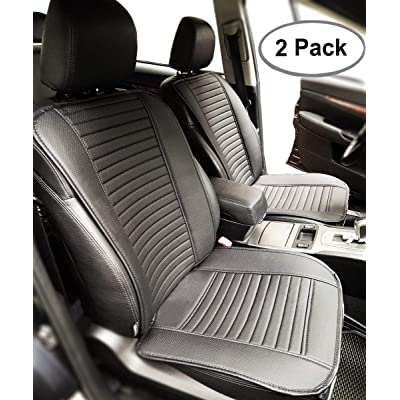 Big Ant Car Seat Cushion, Full Size 2 PCS Breathable Universal Four Seasons Interior Front or Back Seat Covers for Auto Supplies Office Chair with PU Leather(Black): Automotive