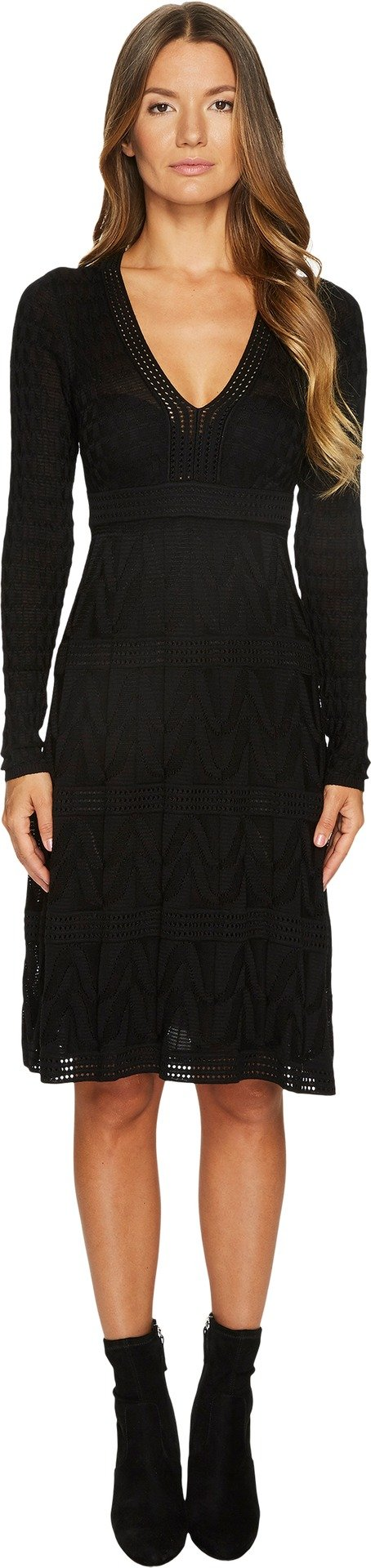 M Missoni Women's Solid Knit V-Neck Dress Black 42 by M Missoni