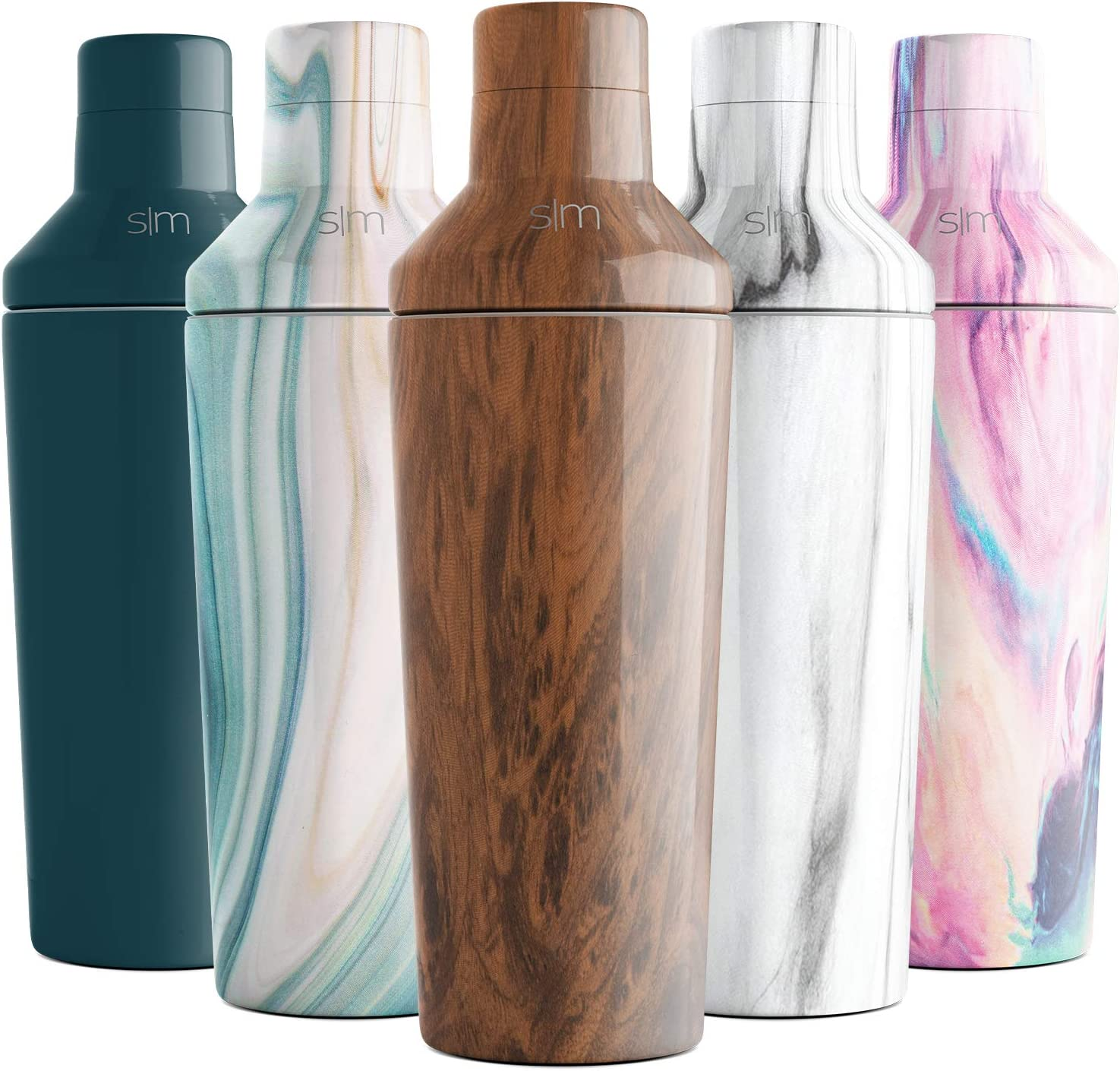 Simple Modern 20oz Cocktail Martini Shaker with Jigger Lid - Vacuum Insulated Boston Stainless Steel Tumbler - Bar Drink Mixer Gift Wood Grain