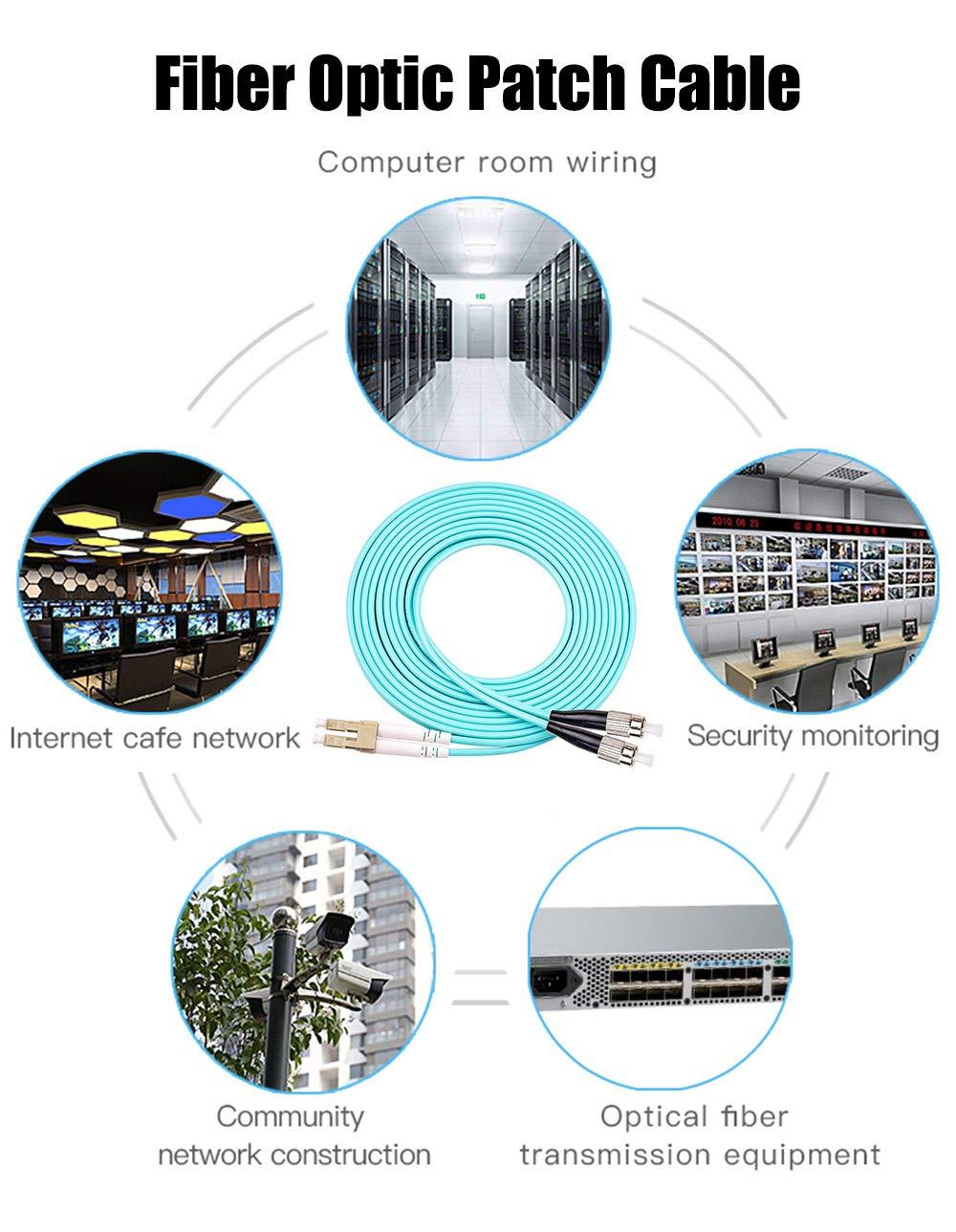 Multimode Duplex 50//125 LSZH Fiber Optic Cord for SFP Transceiver ST to ST Fiber Patch Cable 3ft Snyank OM3 10Gigabit Fiber Optic Cable