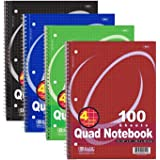 (2 Pack) - BAZIC Quad-Ruled Spiral Notebook 100 Count, Assorted colors (10 1/2 inches x 8 inches)