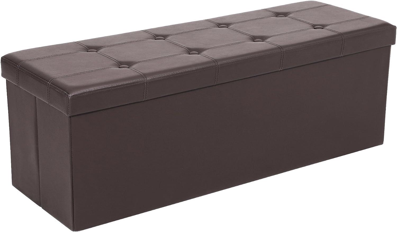 Songmics Baúl Puff - Taburete para almacenaje, Plegable Carga máxima de 300 kg, Marrón, 110 x 38 x 38 cm