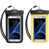 Universal Waterproof Case, MoKo [2-Pack] Waterproof Case With Armband & Neck Strap for iPhone SE / 6s / 6s Plus, Galaxy S7 / S7 Edge, and Other Devices up to 5.7 inch - IPX8 Certified, BLACK + YELLOW