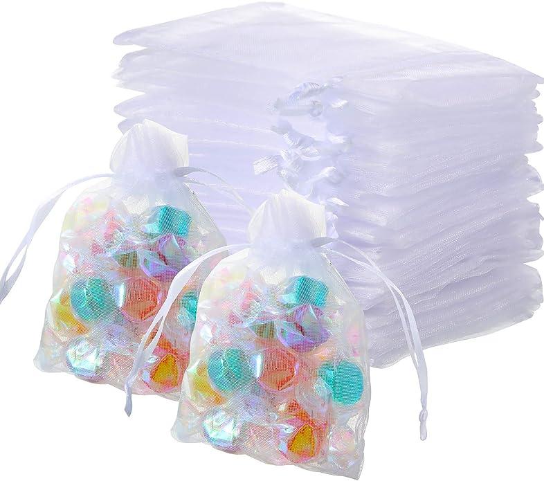 300 Paquetes Bolsas de Organza Pura Blanca con Cordón Bolsas de Organza de Maquillaje Bolsas de Joyas Bolsas de Favor de Boda: Amazon.es: Joyería