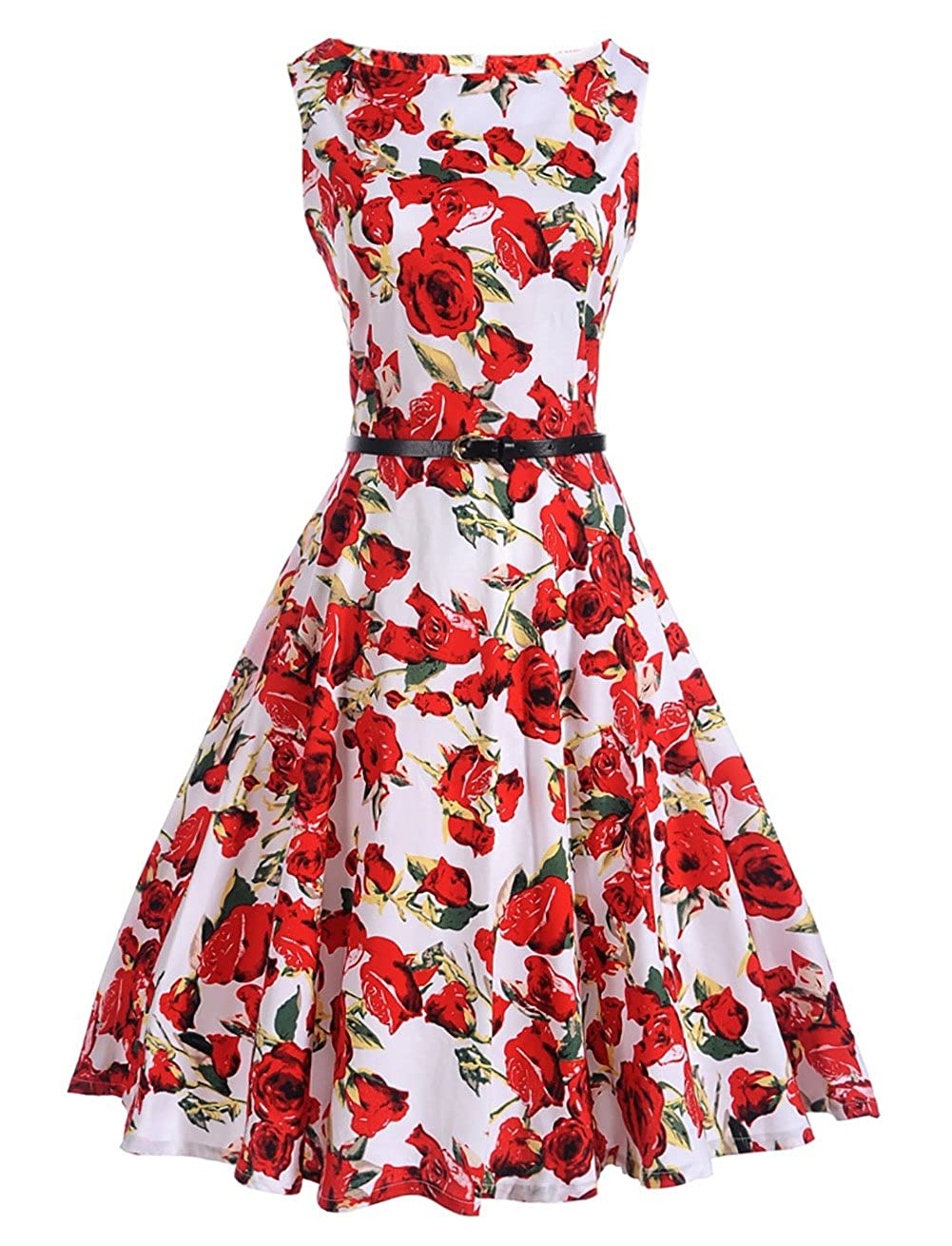 KOERIM Women's 1950s Scoop Vintage Retro Dress Rockabilly Party Swing Dress