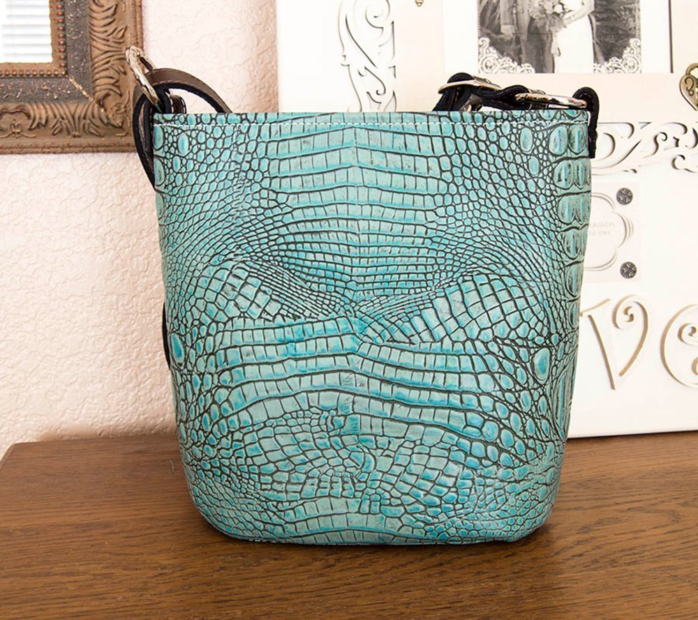 MoonStruck Leather Concealed Carry Purses - CCW Handbags Antique Turquoise Crocodile Leather - Made in the USA - Bucket