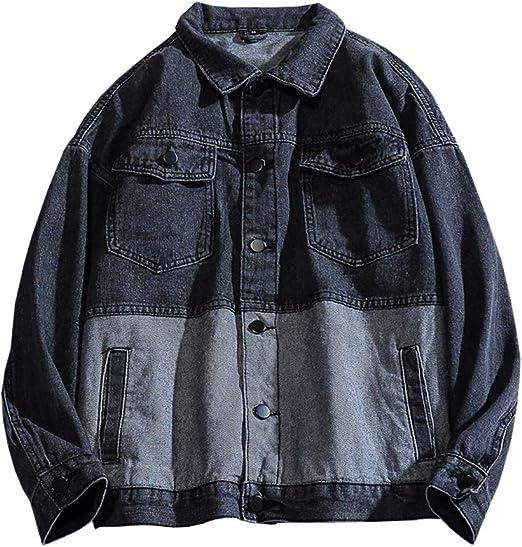 メンズ デニムジャケット 春秋 大きいサイズ スプライス Gジャン 折り襟 防風 防寒 ストレッチ ゆったり ジージャン 通勤 通学 お出かけ ファッション 合わせやすい 無地 ブラック ブルー S-3XL