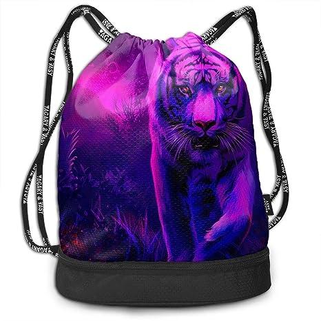 2b317627ac7b Amazon.com: Kkf Gymsack Tiger Moving Night Print Drawstring Bags ...