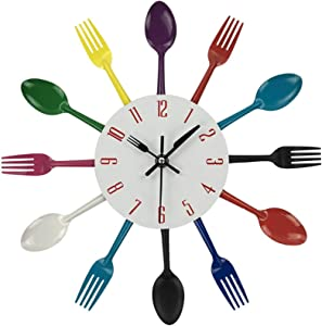 hufeng Wall Clock Multicolor Metal Wall Clock Modern Design Silver Cutlery Kitchen Utensil 3D Spoon Fork Wall Clock for Living Home Decor