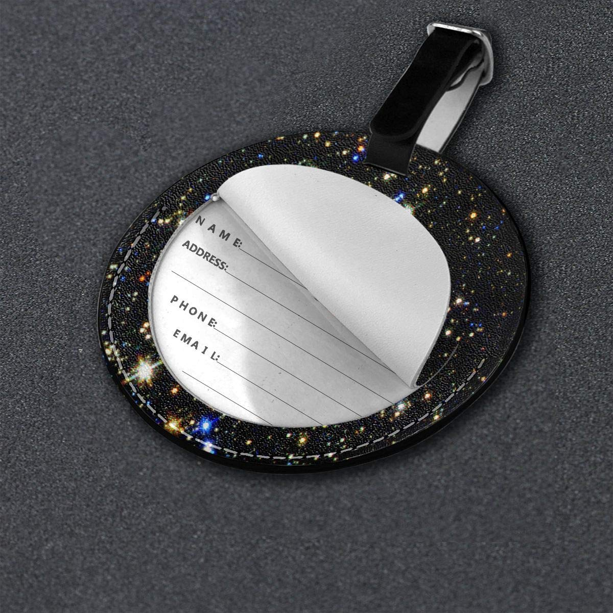 Free-2 Galaxy Twinkling Stars Luggage Tag 3D Print Leather Travel Bag ID Card