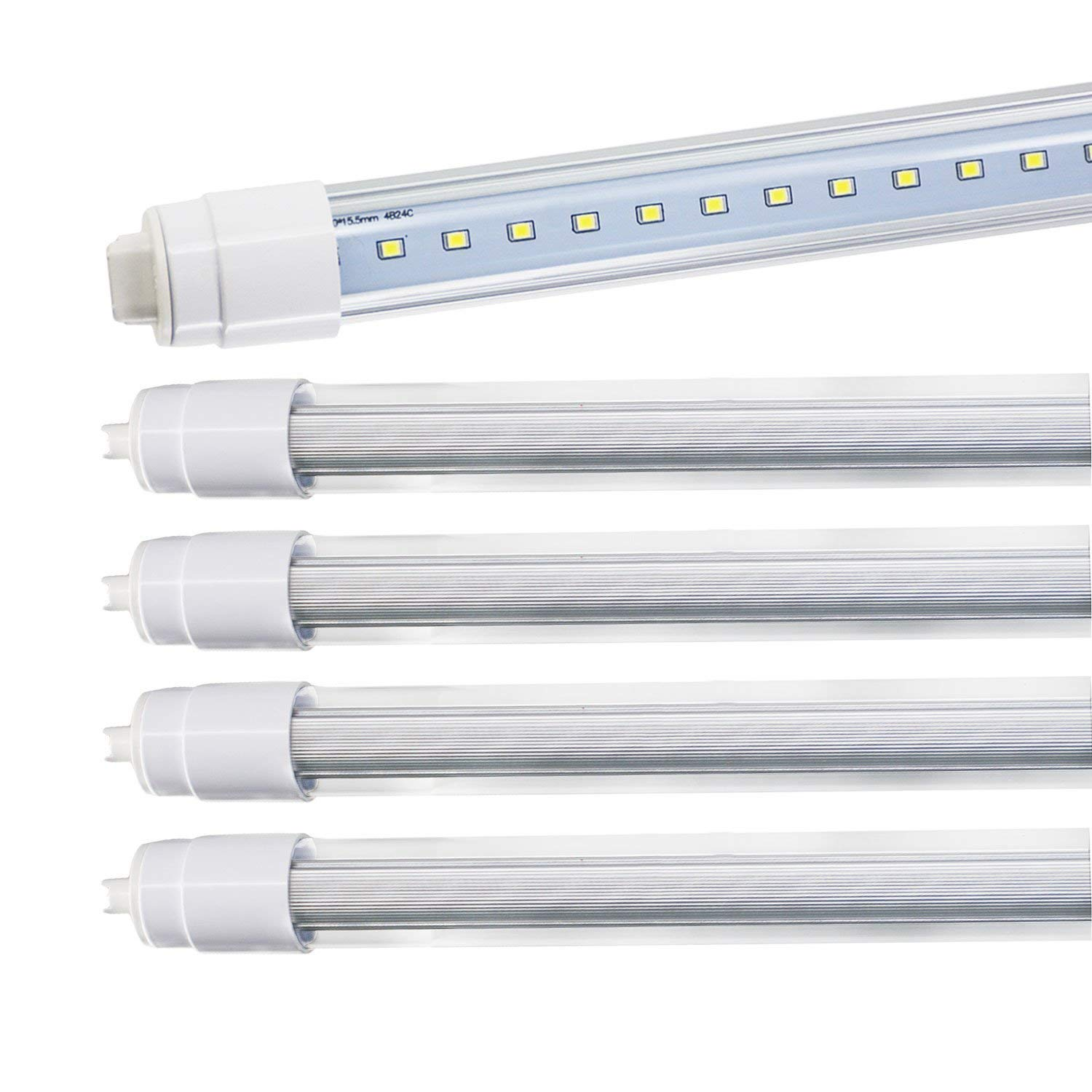 JESLED 360 Degree T8 T10 T12 8ft 52w R17D//HO Base led Outdoor Tubes for Double Sided Signs 6000K Cool White Clear Cover 4-Pack