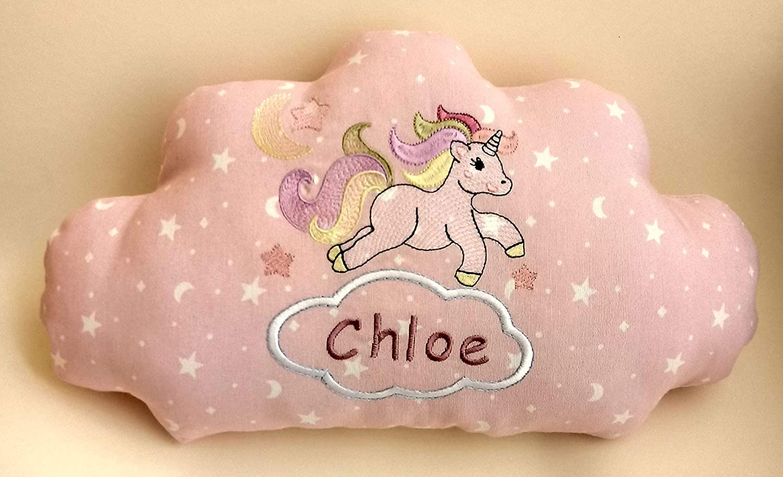 Cojín nube unicornio para bebé, bordado a máquina ...
